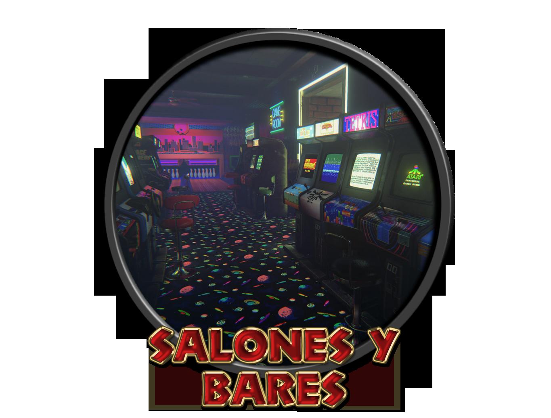 Salones recreativos y bares con máquinas.