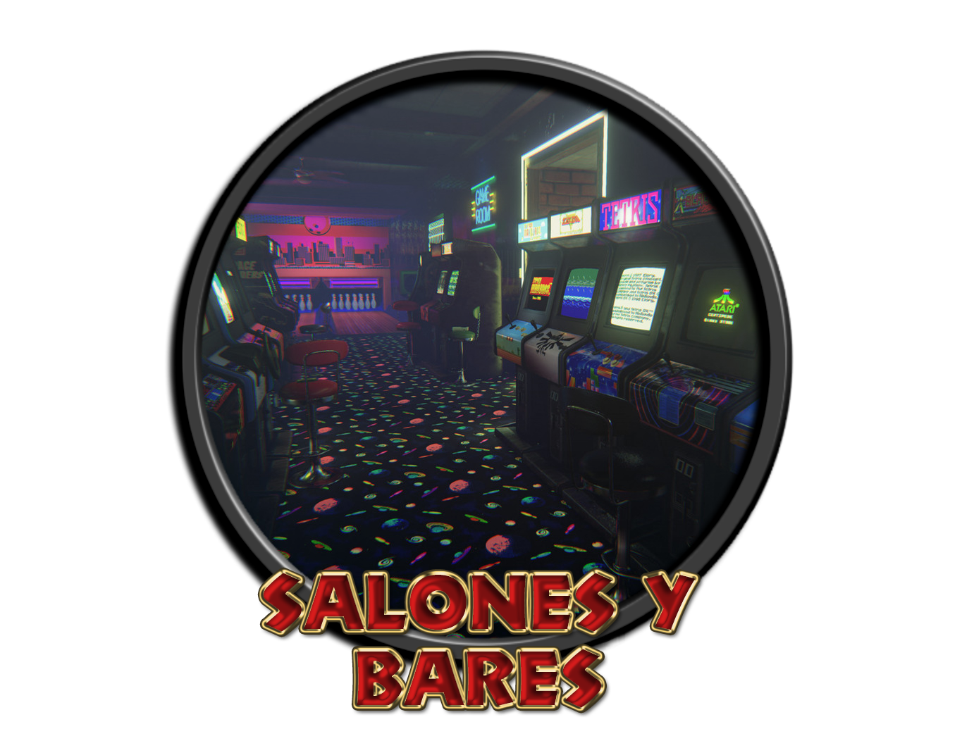 Salones recreativos y bares con máquinas.